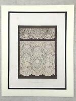 1862 Antique Print Honiton Lace Dress Embroidery Rare Victorian Chromolithograph