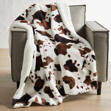 "Better Homes Gardens Cowhide Faux Fur Th 00006000 row Sherpa Blanket 50x60"" Animal Western"