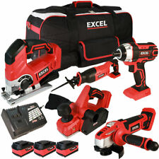 Excel 18V 5 Piece Cordless Tool Kit 3 x 5Ah Batteries Smart Charger Bag EXL5169