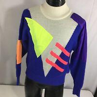 Vtg 80 90's Shiny NEON Geometric Purple Pink Knit Snow SKI SKIING Sweater XS/S