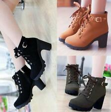 Women's High Heel Booties Platform Ankle Lace Up Fashion knight Boots Shoes R143
