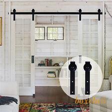 8ft Double Sliding Barn Door Hardware Straight J Roller Track Closet Kit On Sale