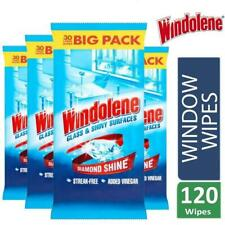 Windolene Glass & Shiny Surfaces Wipes 4x30  120 Wipes Streak Free Added Vinegar