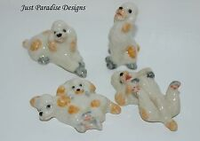Miniature Ceramic Hand Painted Poodle family  ~  Set of 4 ~ Figurine Ornament