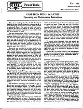 Delta Rockwell No 46-230 Cast Iron Bed 11 Inch Lathe Instructions