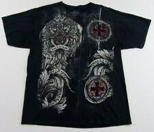 MMA ELITE Salvation Mixed Martial Arts Tribal Black Graphic T Shirt Size L