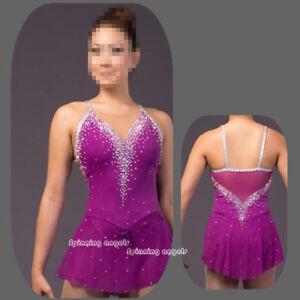 Ice skating dress Competition Figure Skating /Baton Twirling Costume Purple W032