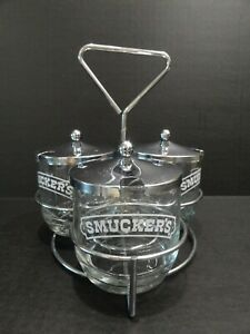 Vintage Smuckers Metal & Glass Jam & Jelly Table Service Set