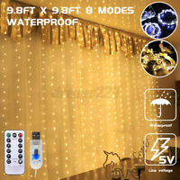 300 Waterproof LED Window Curtain String Ligh Twinkle 8 Modes Fairy Lights Home