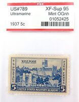 .US STAMP #789 1937 5c ULTRAMARINE PSE GRADED XF-SUP 95 MINT OGnh