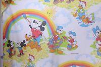 VTG Disney Mickey Mouse Donald Duck Cutter Fabric Craft Quilt Twin Flat Sheet