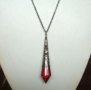 "Victorian Gothic Red Pendulum Teardrop Black Filigree Pendant 30"" Necklace"
