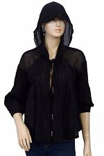 147775 New Free People Mesh Tie Front Black Cotton Hoodie Blouse Top Small S