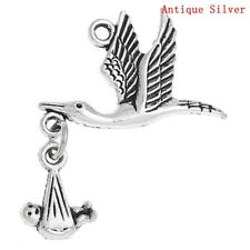 4 Stork Charms Baby Charms Baby Shower Charms Favors Antiqued Silver Moveable