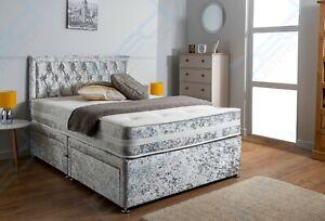 CRUSHED VELVET CHESTERFIELD DIVAN BED SET + MEMORY MATTRESS 4'6 Double 5FT King