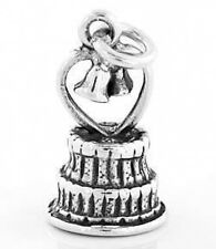 STERLING SILVER WEDDING CAKE WITH HEART CHARM/PENDANT