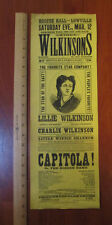 RARE 1870s Theater Broadside Lillie WILKINSON - Lowville NY