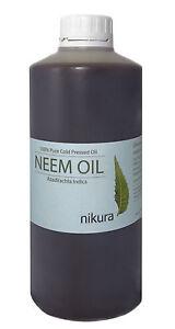 100% Pure Neem Oil Unrefined Cold Pressed 500 ml, 1 Litre