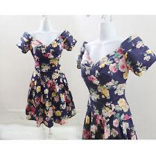Vintage 70s Gunne Sax Dress Size 6 Black Pink Floral Cupcake Bridal Lolita 80s