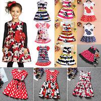 Kids Girls Minnie Mouse Dress Cartoon Casual Summer Vest Skirt Party Sundress US