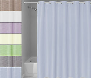 "EZ ON Waffle Weave Fabric Shower Curtain with Snap Off Liner 70""x75"""