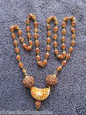 1 Mukhi Rudraksha Rudraksh 5 Face Mala Rosary with Golden Cap MeditationYoga