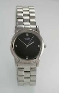 Citizen Watch Mens Silver Stainless Steel Water Resistant Battery Gray Quartz