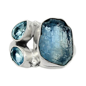 Aquamarine Rough & Blue Topaz 925 Sterling Silver Jewelry Ring s.6 BR10800