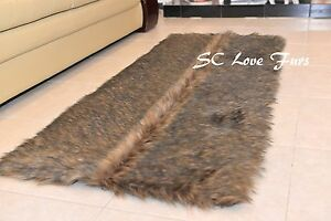 """58 x 36""""' Black Tip Wolf Rectangle Shaggy Fur Rugs Bearskin Home Accent"""