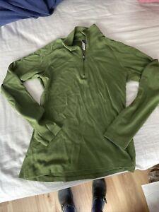 Ibex Women's green Merino Wool 1/4 Zip Mock Base Layer Top Sz Small