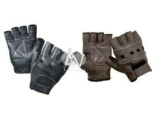Real Leather Unisex Mens Ladies Fingerless Driving Bike Sport Gym Cycling Gloves Black XL