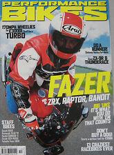 Performance Bikes magazine 10/2001 featuring Yamaha, Kawasaki, Suzuki, Cagiva
