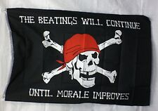 The Beatings Will Continue Until Morale Improves 3'x5' PIRATE Flag Banner