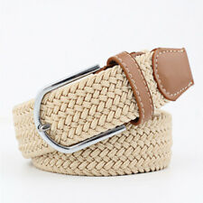 Simple Solid Men Womens Elastic Belts Knitted Canvas Belt Pin Buckle Belts