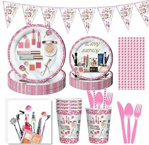 91PCS Spa Makeup Birthday Party Supplies, Partybloom Spa Makeup Disposable Table
