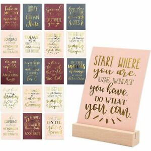 Inspirational Quote Desk Posters Cards with Wooden Stand (21 Pcs, 4.9 x 6.75In.)