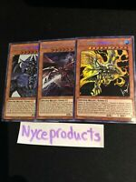 Yugioh All 3 Egyptian God Card Set Ra Obelisk Slifer TN19 Prismatic Secret Rare