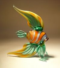 Blown Glass  Figurine Exotic Angelfish Green and Orange Striped FISH