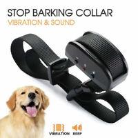 Anti Bark Dog Training Collar Sound & Vibration Stop Barking Automatic Pet NEW