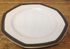 Christopher Stuart YOOO9 Black Dress 1 Dinner Plate White Octagonal Gold Trim