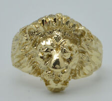 Real 10K Yellow Solid Gold Men's diamond cut Lion Head Ring