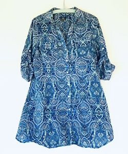 Sportscraft 100% Cotton Size 10 Sheer Boho Blouse Shirt Button Up Sleeves