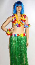 4 PCS HAWAIIAN HULA GRASS SKIRT, FLOWER LEIS BRACELETS NECKLACE FANCY DRESS