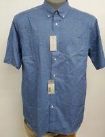Cremieux Signature 4 Indigo Blue Printed S/S Men's Shirt NWT $79.50 Choose Size