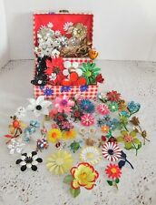 Vintage Enamel Metal Flower Brooches & Insects Lot of 59 in Flower Power Box