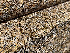 Printed Chiffon Woven Dress Fabric, Per Metre - Orange Leaf Print