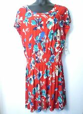 Jones New York Dress 14 Red Floral NEW Drop Waist Blouson Cap Sleeve Retail $99