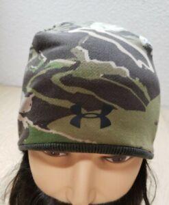 Under Armour Men's Reversible Beanie Hat Camo or Orange O/S Skull Cap UA Hunting