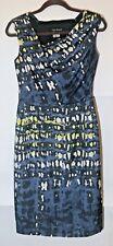LIDA BADAY Vintage 100% Silk Sleeveless Diagonal Neckline Midi Sheath Dress 2