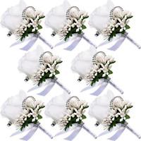 Men Wedding Boutonniere Flowers Accessories Groom Groomsman Prom Party Decora...